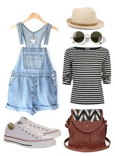 """""""Denim overall outfit"""" by xliesw ❤ liked on Polyvore featuring Converse, Yves Saint Laurent, Sole Society and The Row"""