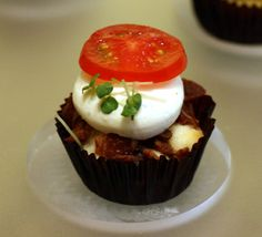 BLT CUPCAKE: includes chopped bacon, fresh mozzarella, a ripe slice of tomato and just a sprinkling of greens to bring it all together. The cake itself is not sweet, making it a light and ideal breakfast or lunch for busy people on the go.