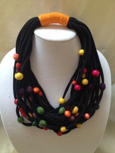 Necklace Scarf Multi-StrandsMulticolor Wood BeadsCotton by Rellia