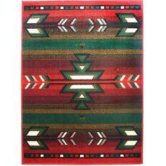 Southwestern Striped Red Rug (8' x 11')