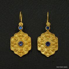 RARE SAPPHIRE CZ BYZANTINE 925 STERLING SILVER 22K GOLD PLATED GREEK EARRINGS #IreneGreekJewelry #DropDangle