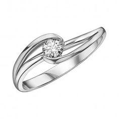 9ct White Gold 0.23ct Diamond Solitaire Twist Ring 102119