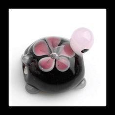 Lampwork Beades  Floral Beads Black Turtle by Girljewelrybox