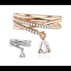Cubic Zirconia Dangle Charm Ring Available Color: White Gold Size: 7 Material: Cubic Zirconia, Alloy, Gold Plated Jewelry Rings