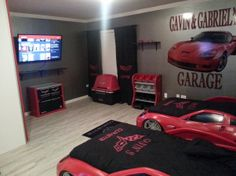 Gavin and Gabriels Corvette themed room, We decided to combine two of our bedrooms so that the boys would have plenty of room to grow into t...