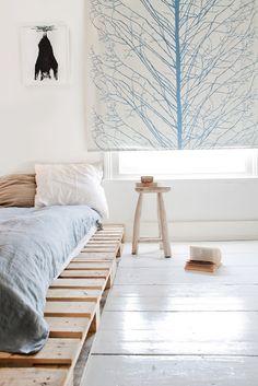 pallets, white wooden floor...