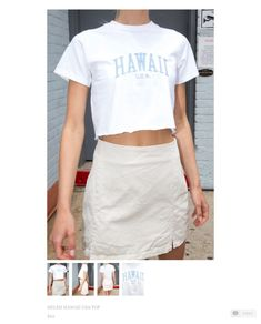 Ribbed cotton tee in white with a crewneck collar and Hawaii U. Teenager Outfits, Girl Outfits, Fashion Outfits, Summer Outfits, School Outfits, Summer Clothes, Trendy Fashion, Crop Top Outfits, Cute Casual Outfits