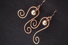 Copper Earrings, pearl earrings, wire wrapped jewelry handmade