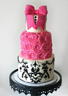 Cakes by Kassie - pink, white, black damask cake in buttercream