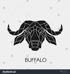 Polygonal black buffalo head made of geometric shapes. Buffalo Tattoo, Buffalo Logo, Buffalo Art, Arm Sleeve Tattoos, Arm Tattoo, Modern Primitives, African Buffalo, Bull Tattoos, Human Condition