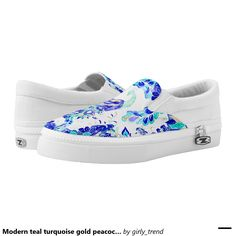 Modern teal turquoise gold peacock illustration printed shoes