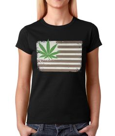 Women's American Flag Pot Leaf Shirt Marijuana T-Shirt #1097 from $10.99 at xpressiontees.etsy.com | #ExpressionTees