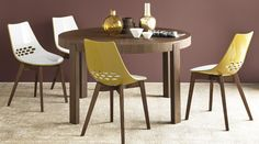 Calligaris Atelier Round Extending Dining Table AXEL extendable table, with metal frame and rectangular wooden top. Dimensions Table Closed W x D x H Table Open W x D x H Wooden Dining Chairs, Modern Dining Table, Round Dining Table, Dining Area, Round Extendable Table, Consoles, Furniture Design, Interior, Room Inspiration