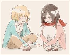 Armin Arlert & Mikasa Ackerman - Shingeki no Kyojin, Attack on Titan Mikasa, Armin, Attack On Titan Ships, Attack On Titan Fanart, Rivamika, Eremika, Titans Anime, At Least, Fan Art