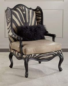Shop Wilder Leather Zebra Wing Chair from Massoud at Horchow, where you'll find new lower shipping on hundreds of home furnishings and gifts. Chair Makeover, Furniture Makeover, Diy Furniture, Tuscan Furniture, Reupholster Furniture, Victorian Furniture, Street Furniture, Furniture Layout, Upholstered Furniture