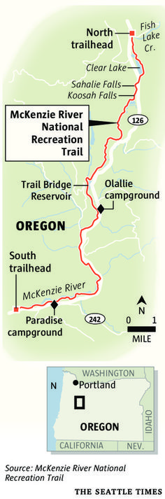 McKenzie River National Recreation Trail is spectacular scenic challenge to cyclists.