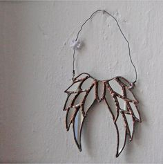 Little Shabby Angel - mirrored stained glass hanging angels wings