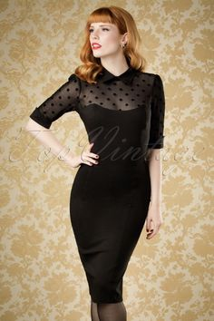 Collectif Clothing 50s Wednesday Polkadot Pencil Dress in Black