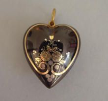 VICTORIAN tortoise pique heart pendant with butterfly, flowers, leaves and scrolls,
