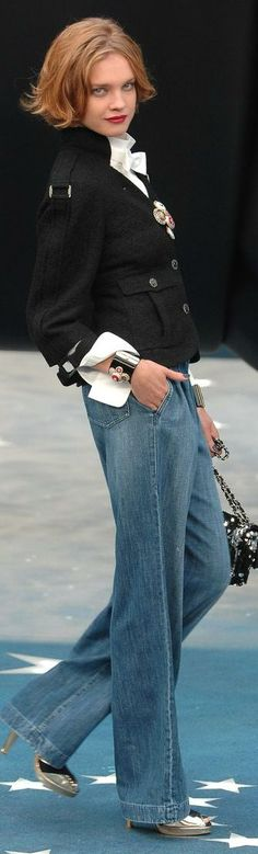 Chanel - Always classy...like the cuffed white shirt and jeans