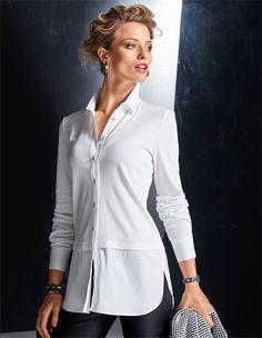 Langes Damen Hemd mit gerundetem Saum und Seitenschlitzen