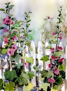 """Hollyhock Fence"" by Sharon Himes, Pocomoke Forest // I painted this loose watercolor painting in a hurry, trying to catch the dappled light on a garden fence with a busy hummingbird zooming around the pink hollyhocks. // Imagekind.com -- Buy stunning, museum-quality fine art prints, framed prints, and canvas prints directly from independent working artists and photographers."