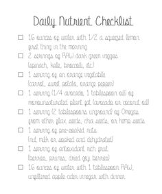 Daily Nutrient Checklist- a list of healthy foods to include throughout your day!