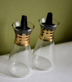 Black and Gold Vintage Pyrex Salt and Pepper Shaker Set