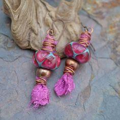 Aladdin's Lamp Sari Silk and Lampwork Glass Earrings. $45.00, via Etsy.