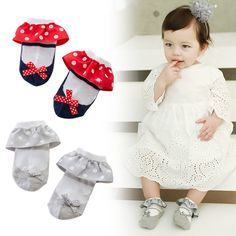 >> Click to Buy << Sweet Toddler Baby Socks Girl Slippers Dots Princess Lace Soft Cotton Short Socks L07 #Affiliate