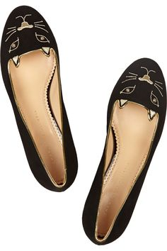 CHARLOTTE OLYMPIA Kitty Studs embroidered suede slippers