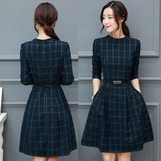 Winter Women Retro Career Long Sleeve Checks Party Prom Knee-Length A-Line Dress Prom Dresses For Teens, Special Dresses, Short Dresses, Girls Dresses, Skirt Fashion, Hijab Fashion, Fashion Dresses, Classy Outfits, Beautiful Outfits