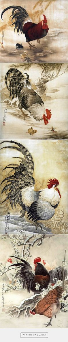 Beautiful Chinese watercolor paintings of roosters and chickens by artist Yingjie Feng