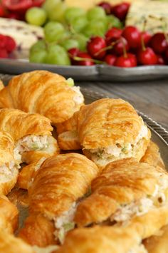Couldn't be simpler… Slice open the croissants with a bread knife and scoop on the chicken salad. Display on a tray, and done!
