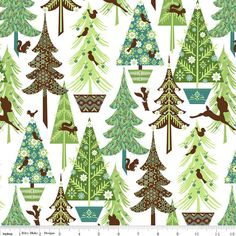 Riley Blake Designs, Alpine Wonderland, Trees White Fabric - By the Yard