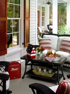 Red, white and blue porch! I've always wanted a porch with a patriotic theme.