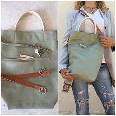 Free Shipping/Green tote leather bag/light sage green by LaraKlass