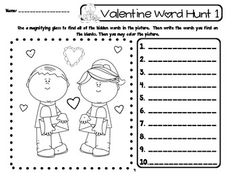 Valentine Word Hunt -  This is a set of 12 different games that can be played independently, with partners, or as a center. The games cover 60 sight words. All you need are the game boards, crayons, pencils, and a magnifying glass. The students will use the magnifying glass to search a picture for hidden sight words. (Kindergarten and First Grade Sight Word Work) $