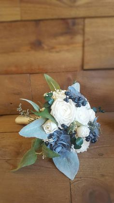 Navy Sage Dusty Slate Steel Blue Sola Flower Bouquet and dried Flower Stella Designs Style 43 - Wedding bouquets - Homecoming Flowers, Prom Flowers, Blue Wedding Flowers, Wedding Flower Arrangements, Wedding Centerpieces, Floral Arrangements, Wedding Colors, Bridal Bouquet Blue, Flower Bouquet Wedding