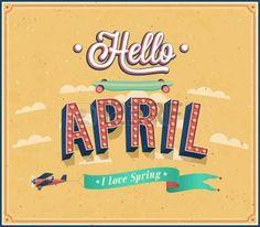 Hello april typographic design. Vector illustration. photo