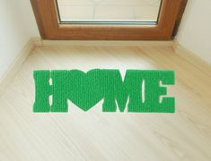 Door mat Home with heart. Welcome mat. Decor your entry. Customizable