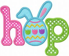 Easter HOP Applique Machine Embroidery Design by JoyousEmbroidery, $2.99