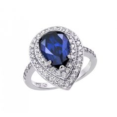 MSRP:$199.99    Our Price:$59.99    Savings: $140.00        Availability:Usually Ships in 5 Business Days        Product Description:    Crafted in fine sterling silver, this beautiful ring for her features a double halo with a pearshape blue cubic zirconia center stone with brilliant cubic zirconia accent stones.        Features:      Crafted in .925 Sterling Silver  Clear and Blue Cubic Zirconia (CZ's)  Double Halo Design          Product Specifications:      Primary Metal…