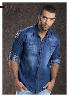 Camisa-para-hombre-en-indigo-manga-larga-denim-shirt-for-men- long Sleeve-2