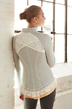 Pure   Good Lined Lace Jacket #anthropologie