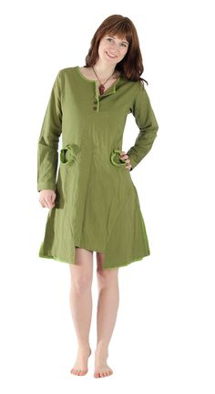 fair trade dress with hoodie and pockets made of pure cotton