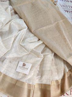 White colour chanderi silk cotton saree with Tusser colour Pallu & Blouse