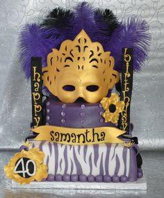 Mardi Gras Food, Mardi Gras Beads, Mardi Gras Party, Dessert Decoration, Dessert Ideas, Cake Ideas, Masquerade Cakes, Masquerade Wedding, Grass Cake