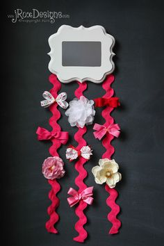 Hang ribbons from a mirror to keep them organized and easy to access.