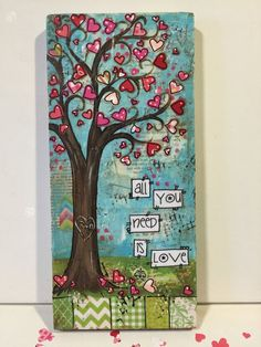 Love Tree with pink, red and coral hearts, with your initials painted in the bark of the tree. Sweet sayings along sides. Please add your